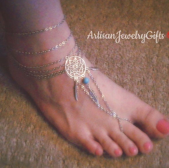ea3d4899cecac Dream Catcher Barefoot Sandal Boho Slave Anklet Boutique